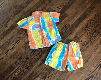 Where are the dolphins kids play set || 1980s childrens shorts and shirt set || summer play clothes || 80s kids clothing || kids vintage