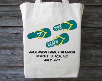 Family Reunion Beach Tote, Personalized Beach Tote, To The Beach, Beach Bag, Flip Flops, Family Vacation, Beach Tote Bag, Custom Beach Tote