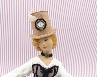 Steampunk light brown hat with clock in 1:12 scale