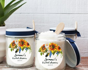 8 oz Sugar Scrub Favors - All Natural | Sunflower Bouquet Label | Sunflower Bridal Shower Favors | Baby Shower Favors | Party Favor-Set of 6
