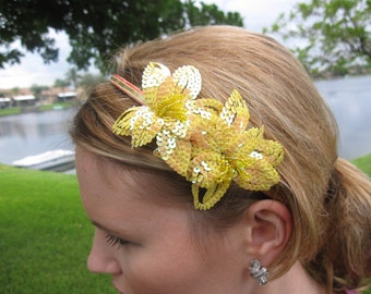 Yellow Sequin Flower Headband, for parties, occasions