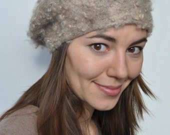 Felted wool hat beret Merino wool  original women accessories-- Ready for ship now