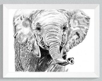 Elephant Baby Print, Elephant Baby, Nursery Art, Prints, Elephant Totem, Elephant Baby decor print, Baby animal print, Nursery Art