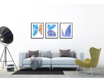 Modern Art Set of 3 prints bedroom . Art set of 3 . Wall art set of 3 . Vibrant painting set . Living room art set . Shapes print set of 3