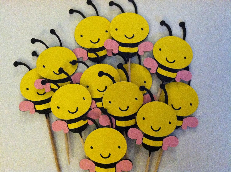 12 Bumble Bee Cupcake ToppersBaby Girl Shower Food Picks