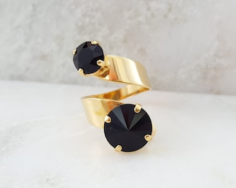 Black Crystal Ring - Swarovski Crystal Ring - Black Statement Ring - Jet Black Renaissance Jewelry - Gold Spiral Ring - Twist Ring R3026