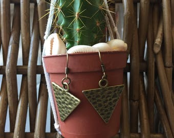 END of series Benoa embossed antique bronze triangle earrings