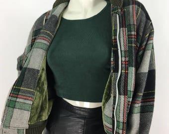 Vintage tartan plaid jacket/80s plaid jacket