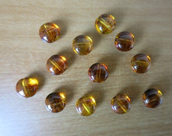 Set of 12 beads imitation amber 1 cm