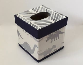 Gray Dinosaurs TISSUE BOX COVER - Dinosaur Theme Kleenex Box Cover - Baby Nursery Decor - Made-To-Order