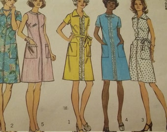 Uncut and FF Pattern Pieces Vintage Simplicity 6077 Sewing Pattern Size 16-1/2 A-line Dress