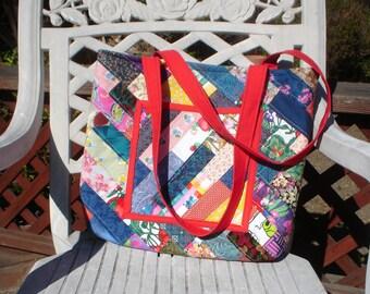 Diagonal Strip Quilted Market Bag