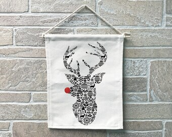 Reindeer // Heavy Cotton Canvas Banner // Made In The USA