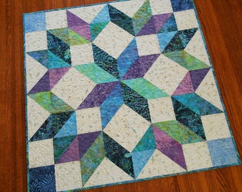 Quilted Star Wall Hanging in Blue Purple Teal and Green Batiks, Quilted Square Table Topper, Beach Decor, Carpenters Wheel Star, Wall Art