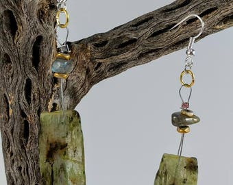 Exquisite, Gorgeous, Rare Green Kyanite Earrings