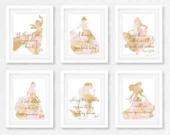 Disney, Nursery Decor, Wall Art, Baby shower gift, The little mermaid, Gift for her, Disney Quotes, Belle, Cinderella, Beauty and the beast