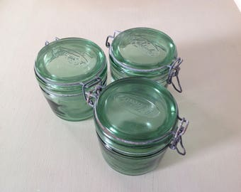 3 old glass jars