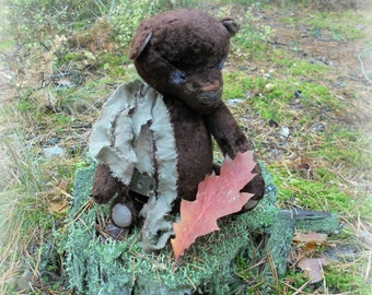 Big sale! Artist teddy bear Vintage chocolate teddy bear Old teddy bear OOAK teddy bear Gift for her Interior Stuffed Valentine's Day gift