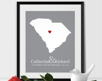 South Carolina State Map Art, Wedding Gift for Couples Anniversary Gift Personalized Couples Gift for Her South Carolina Gift -Any STATE