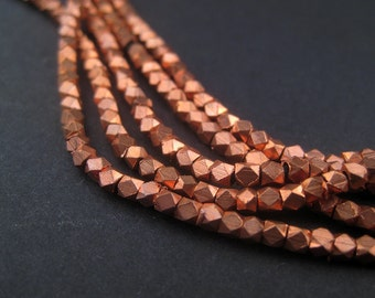 Tiny Copper Beads - 2mm Diamond Cut Faceted Beads - Small Metal Beads - Jewelry Making Supplies - Copper Spacers ** (FCT-USU-CPR-139L)