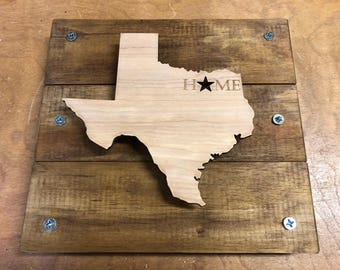 State of Texas laser cut wood