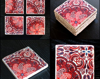 Red Morrocan Travertine Coasters