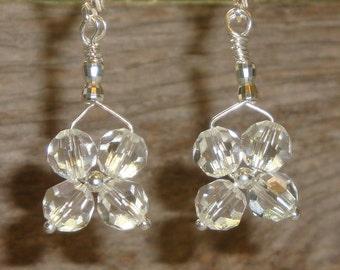 Look Into My CRYSTAL BALL- myBouquet Beaded Floral Design - Swarovski Crystal & Sterling SilverEarrings - Handmade by Dorana