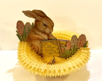 Vintage Beistle Bunny, Honeycomb Fold Out, Easter Basket, Pop Up Eggs, Pat. Pending, Easter Centerpiece Beistle Tissue Eggs, Circa 1920s