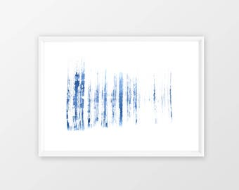 Blue brush strokes, DIGITAL DOWNLOAD, abstract watercolor painting, modern printable wall art, Minimalist brush strokes, instant download,