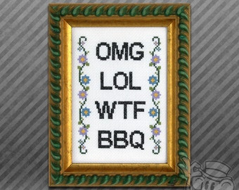 Text Cross-Stitch Pattern: lol omg wtf bbq