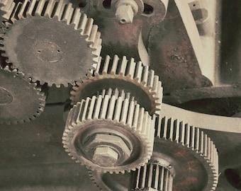Macro Gear Photography Art, Old Gears Art Print, Industrial Decor