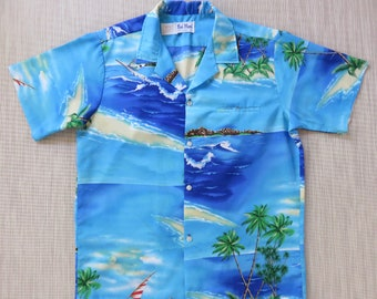 Vintage Hawaiian Shirt RAI NANI Hawaii Shirt Aloha Surfer Shirt WINDSURFER Rockin' Beach Party Shirt Mens - L - Oahu Lew's Shirt Shack