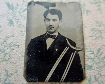 unique antique miniature gem tintype photo - 1800s, man with crutches