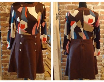 1970's style Wool dress Brown with avant garde pattern size Small