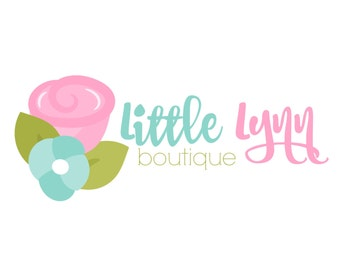 Boutique Flower Logo - Boutique Etsy Logo - Branding Design - Digital Logo - Watermark - Pink Blue Flower Logo - JPG PNG