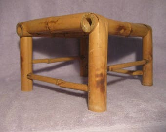 Vintage Small Bamboo Stool Plant Holder Small Side Table Bamboo Home Decor