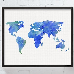World map continents etsy au world map poster world map print world map art watercolor world map gumiabroncs Image collections