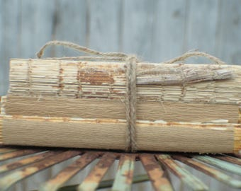 SET OF 5 Stacks of 3 Vintage Unbound Books Wrapped in Twine, Naked Book Centerpiece, Rustic Wedding Centerpiece, Naked Book Stack set