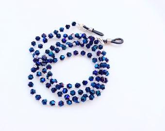 Eyeglasses holder chain blue/purple crystals beads beautiful eyeglasses neck chain N13