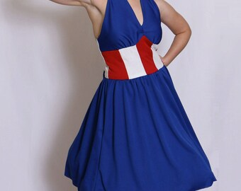 Captain America inspired 1940s halter dress! With Pockets!