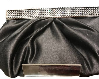 New  Black  Satin Pleated Soft Clutch Evening Handbag With Silver and Rhinestone Closure