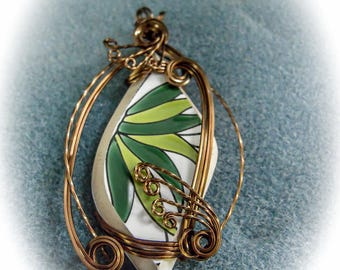 China in Wire Sculpted Bronze Pendant