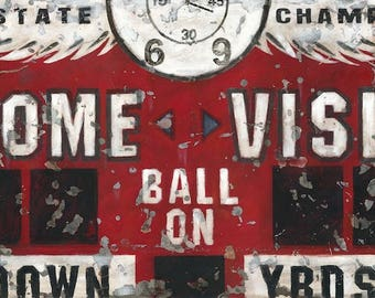 Vintage Red Football Scoreboard Sports Art Canvas- by Aaron Christensen.  Perfect for boys rooms, man caves and for Football & NFL fans.