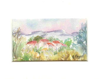 Houses in provence - original watercolor with passe partout