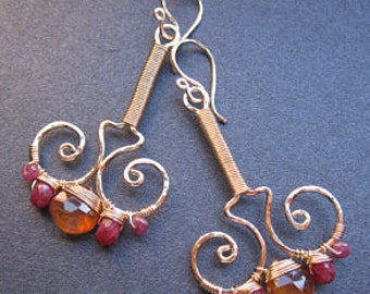 Hammered wired swirl drops with ruby and mandarin garnet Nouveau 61