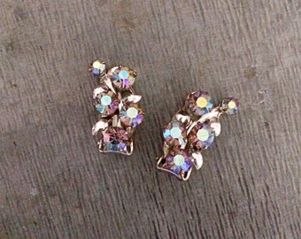 Diamante earrings, clip on earrings, rhinestone earrings, aurora borelis, vintage earrings, teal, green, purple, 1950's earrings