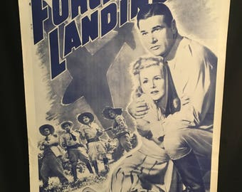 Original 1941 Forced Landing One Sheet Movie Poster, Richard Arlen, Eva Gabor, Army, War, WW2, Plane