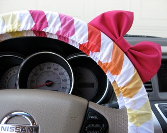 Steering Wheel Cover Bow, Sunset Blush Pink Chevron Steering Wheel Cover with Hot Pink Bow, Pink Orange Yellow Chevron Wheel Cover BF11187
