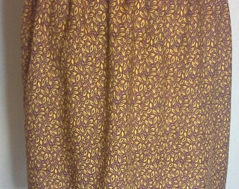 Leaf print gathered skirt,mustard and burgundy and yellow skirt,size 8-10 UK,casual elasticated skirt,soft viscose,summer skirt,SALE 25% OFF