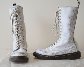 Lina macgregor on etsy 90s white 14 eye rose doc martens boots 7 mightylinksfo